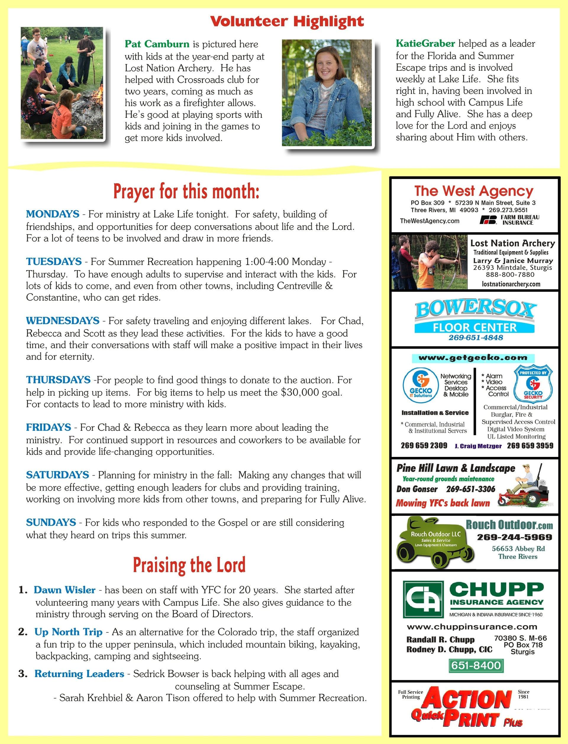 Ministry Newsletters  Southwest Michigan Youth For Christ